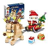 Bloques NavideñosTrineo de Papá Noel Rompecabezas para Niños Ensamblaje de Bloques de Construcción 346 Pcs , Compatible con LEGO Technic Christmas elk sleigh