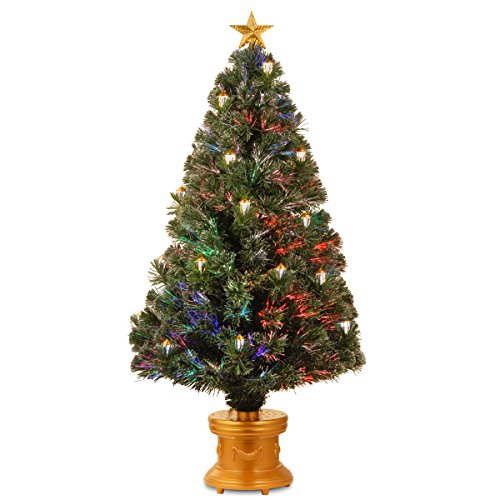 National Tree 48 Inch Fiber Optic Shiny Gold Lantern Fireworks Tree with Clear Top Star in Gold Base (SZLX7-111L-48)