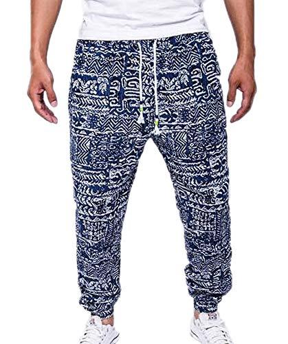 huateng Pantaloni Casual da Uomo Pantaloni con Stampa Stile Etnico Pantaloni con Coulisse