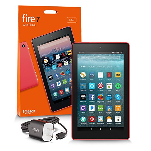 "All-New Fire 7 Tablet with Alexa, 7"" Display, 8 GB, Punch Red - with Special Offers"