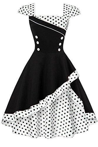 Damen 50er Jahre Vintage Rockabilly Kleid Pin up Cocktailkleid Polka Dots Partykleid Knielang- Gr. XL (42), Weiße Schwarz