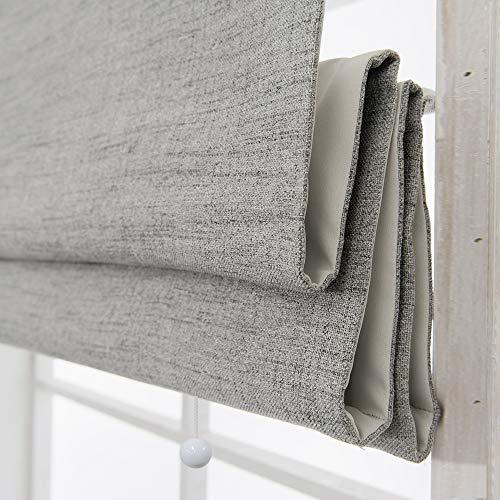 Cordless Roman Shades Window Blinds, Grey Premium Blackout Roman Window Shades, Custom Washable Fabric Roman Shades for Windows, Doors, French Doors, Kitchen Windows (1 Piece)