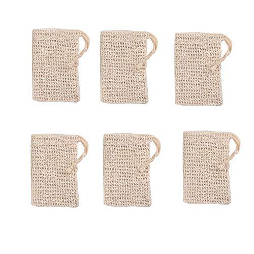 6 Stück Seifensäckchen,Seifensäckchen, Seifenbeute Natur, Aufschäumen und Trocknen der Seife, Peeling, Massage, Seifenbeutel,Bio Seifensack mit Kordel