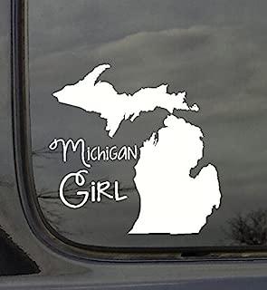 Wall Decor Plus More WDPM3011 State Girl Silhouette Michigan Vinyl Car Decal, White