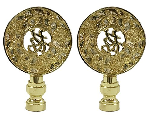 Royal Designs Good Fortune Oriental Motif 3.5' Lamp Finial for Lamp Shade, Polished Brass - Set of 2