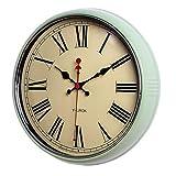 FAFA Reloj de pared redondo silencioso de 12 pulgadas creativo sala de estar dormitorio nostálgico vintage reloj pastoral