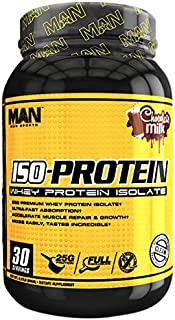 MAN Sports ISO-Protein 100% Pure Whey Protein Isolate Powder, Chocolate Milk, 2 Pounds