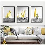 Vela Barcos amarillos Lienzo Pintura Paisajes marinos Cuadros de pared para sala de estar Carteles e impresiones Decorativos 50x60cm / 19.7'x 23.6' Con marco