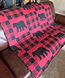 Quilted Throw Blanket by Virah Bella - 50' x 60' Buffalo Plaid Rustic Black Bear Lightweight Throw Quilt Great for Loungers & Extra Bedding - Beautiful Lodge-Themed Blanket