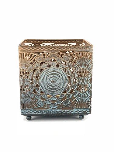Orientalisches Windlicht aus Metall Banta - Türkis mit Übergang zu Gold - mit Goldschimmer - Höhe 8 x Breite 8 cm x Tiefe 8 cm