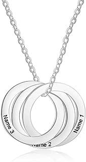 Roapk Collana personalizzata con 3 cerchi con nome inciso personalizzato in acciaio inox ad incastro collana gioielli rega...