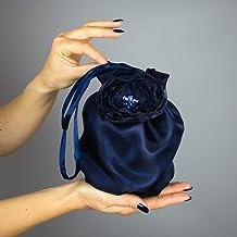Borse Borsa Pochette donna tela tessuto raso organza saten blu