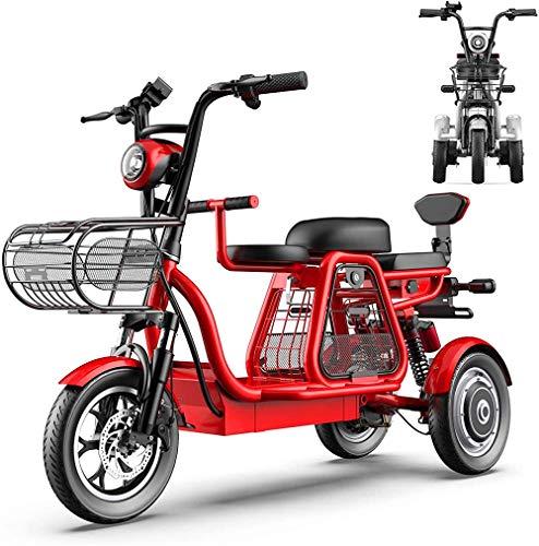 Bicicletas Eléctricas, 3 bicicletas de ruedas eléctrica for adultos con 500W 48V 8A 12 '' Montaña Scooter eléctrico con bloqueo eléctrico cargador rápido de batería con padres e hijos de tres plazas b