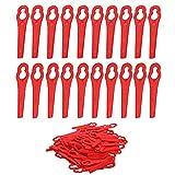 SWAWIS 100 Stücke Mower-Kunststoffklingen Rot Garten Rasentrimmer Zubehör Mower Blade Ersatzmesser für Rasenmäher Gartengerät Rasenmäher (Upgrade)