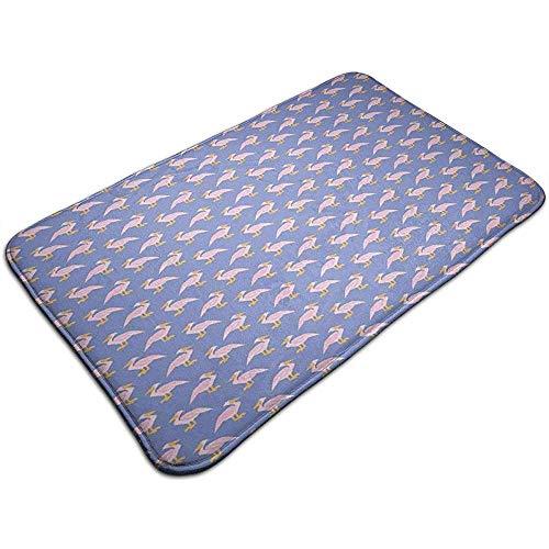 Lemotop Badmat Exotische Roze Aquatische Vogels met Oranje snavel en voeten Patroon Pluche Badkamer Decor Mat Niet Slip Backing