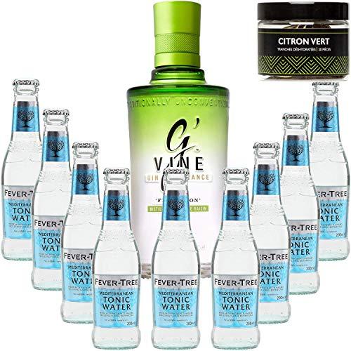 Paquete Gintonic - G'Vine 9 Fever Agua Árbol Mediterráneo - (70cl 20cl + 9 *) + 20 Pot rodajas de limón verde deshidratada
