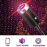 Proyector de luz LED USB para coche, control de voz, proyector de luz nocturna ajustable, luz de ambiente portátil para coche, techo, dormitorio, fiesta (rojo y morado)