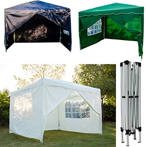 FlyingBanana001 3x3M POP UP Garden Gazebo Marquee Party Tent Canopy with Carry Bag for Outdoor Camping BBQ Wedding Gazebo, PVC coated, Fully Waterproof, with 4 Side Panels, Green