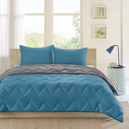 Intelligent Design Trixie All Season Reversible Down Alternative Comforter Mini Set, Full/Queen, Teal/Charcoal