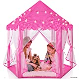 Play22 Kids Large Playhouse Tent – Kids Play Tent Princess Castle Pink - Play Tent House For Girls With Star Lights & Carry Bag - Princess Castle Playhouse Tent For Girls Boys Indoor Outdoor 55' X 53'