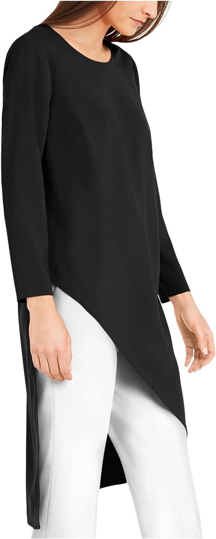 ALFANI Womens Black Long Sleeve Jewel Neck Tunic Top Size XS