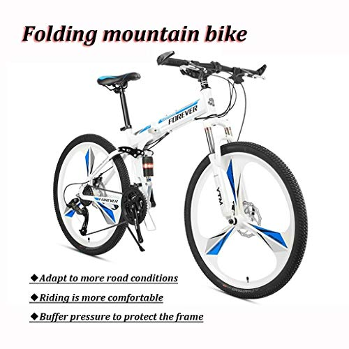 Student Mountain Bike, 26 Inch Wheels, Mountain Trail Bike High Carbon Steel Folding Outroad Bicycles, 24/27-Speed Bicycle Full Suspension MTB ​​Gears Dual Disc Brakes Mountain Bicycle