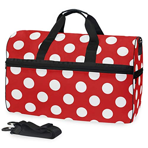 ALAZA Red White Polka Dot Sports Gym Duffel Bag Travel Luggage Handbag Shoulder Bag with Shoes Compartment for Men Women