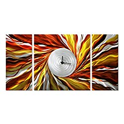 Hands of Time Wall Decor - Abstract Orange Clock in 24 x 49 a Multipurpose Wall Hanging - Tell Time in Modern Art
