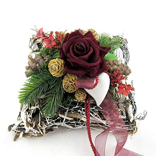 Small-Preis Grabgesteck - Grabschmuck - Grabaufleger Kissen mit roten Rosen 012