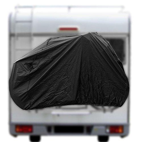 PRO PLUS Fahrradschutzhülle für 2 Fahrräder in Schwarz mit Gummizug und Haken für Wohnmobile und Wohnwagen