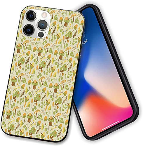Compatible with iPhone 12 Case Cover,Autumn Flora Inspired with Thistle and Campanula Flowers Orange Toned Snails,Shockproof Soft TPU Bumper Phone Case for iphone 12 pro max-6.7 inch