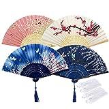 Rorchio 4 Ventaglio Giapponese Donna Seta Pieghevole Fan Danza Bambù per Festa di Nozze Puntelli Home Office Cosplay Parete Fai da te Decorazione