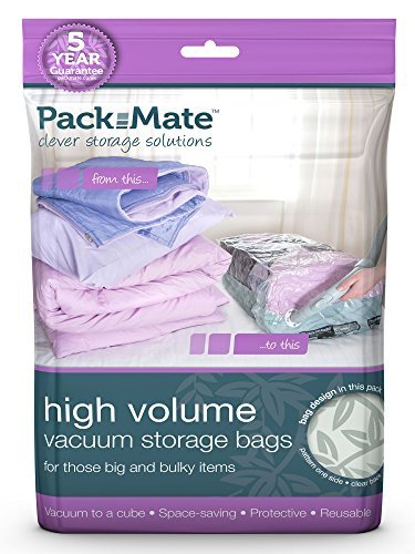 Packmate Ã' – Pack of 2 Vacuum Storage Bags for Clothes, Large Duvets, Sheets, etc. – Compression with Vacuum Cleaner – Very Large Size 90 x 110 cm by Pack Mate
