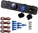Thlevel Panel de Enchufes 4 en 1, con Doble Cargador USB y Voltímetro de LED y Encendedor de Cigarrillos y LED Azul Interruptor para Coche, Marina, Barco, Camión