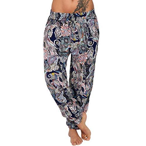 Tomwell Damen Leichte Sommer Hose Harem Baggy Elegant Pumphose Haremshose Blumenmuster Lange Hose Sommerhose Aladin Pants B XL