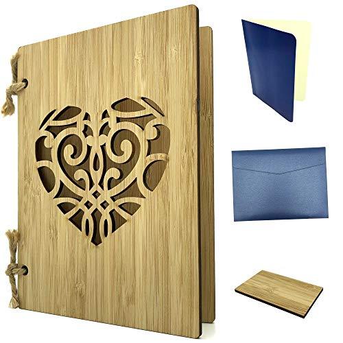 Grußkarte aus Holz als Einladungskarte & Weihnachtskarte - Bambuskarte mit Herz ca. A6 Format - Set mit Einlagepapier, Briefumschlag & Probestück