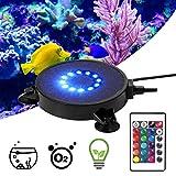 PROZOR Luce per Acquario da Immersione con Telecomando 12 LED Lampada Acquario con Ventosa Impermeabile IP68 Luce Colorate a Bolle d'Aria Lampada Decorazione con 16 Colori 4 modalità Luce