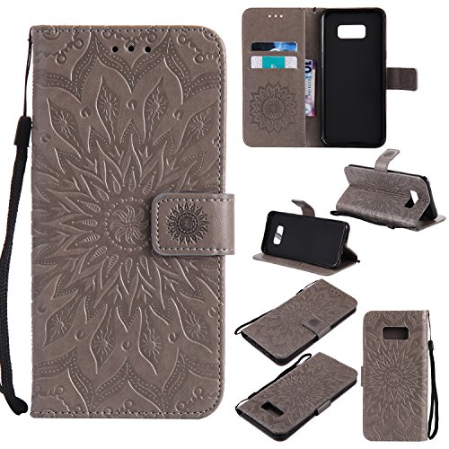 Purple Cfrau Kickstand Wallet Case with Black Stylus for Samsung Galaxy A60,Retro Mandala Sunflower PU Leather Magnetic Flip Folio Stand Soft Silicone Card Slots Case with Wrist Strap