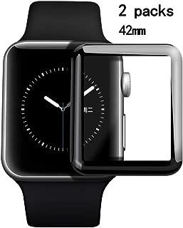 [改善版]42mm Apple Watch フィルム Series 3, 2, 1兼用, Uarral Apple Watch強化ガラスフィルム 気泡防止 液晶面保護 衝撃吸収フィルム アップルウォッチ フィルム 曲面カバー HD画面対応 高透過率 耐指紋 硬度9H アップルウォッチ フィルム(2枚セット)