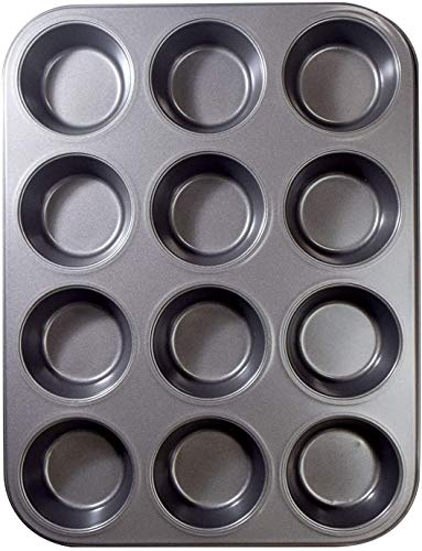 LQuite 12 Well Nonstick Carbon Steel Bakeware Crown Muffin Pan, Nonstick & Quick Release Coating,Carbon Steel roaster suitable for oven baking