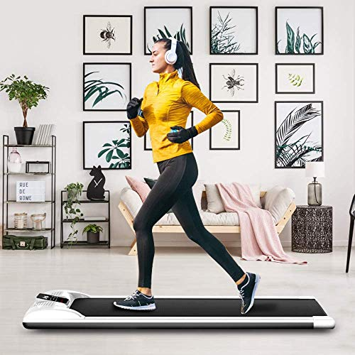 ETE ETMATE Portable Treadmill Digital Electric Walking Pad Under Desk Smart Slim Fitness Jogging Training Cardio Workout with LED Display & Wireless Remote Control for Home Office