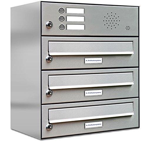 AL Briefkastensysteme 3er Briefkastenanlage mit Klingel, Edelstahl, Premium Briefkasten DIN A4, 3 Fach Postkasten modern Aufputz
