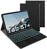 Bluetooth Keyboard Case with Trackpad for Samsung Galaxy S7 Plus 12.4' 2020 (Model SM-T970/T975/T976/978), Backlit Keyboard with Mouse Pad Protective Cover for Samsung Tab S7 Plus, Black