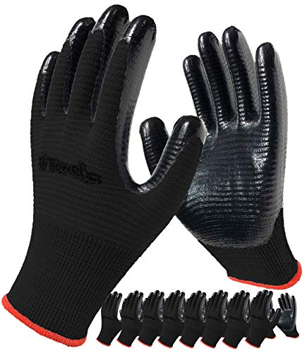 Work Gloves, 8-Pair Pack, Gardening Gloves Dipped with Firm Grip Nitrile Rubber Coating for Men and Women, Breathable Comfort General Purpose (Medium, Black)
