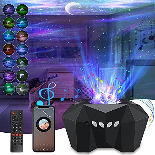 Star Projector Galaxy Light, 3 in 1 Aurora Star Lights with Bluetooth Speaker Moon Sky Laser Night...