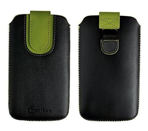 Emartbuy Nero/Verde qualità PU Pelle Custodia Case Cover Sleeve (Size 2) con Linguetta Compatibile con Smartphone Elencati sotto
