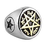 HZMAN Supernatural Devils Trap Symbol Sigil Stainless Steel Ring Pentagram Anti Possession