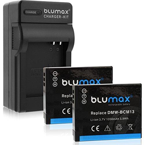Blumax 2X Akku ersetzt Panasonic DMW-BCM13 / DMW-BCM13E 1050mAh + Ladegerät DMW-BCM13 / DMW-BCM13E   passend zu Lumix DMC TZ40 TZ41 TZ55 TZ56 TZ58 TZ60 TZ61 TZ70 TZ71    ZS30 ZS40 ZS50    TS5 FT5