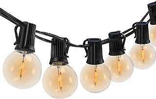 EDYSAN Cadena de luces LED G40, para exteriores, 25 m, resistente al agua, luz blanca cálida, para interiores, para jardín, cafetería [Clase energética A+]