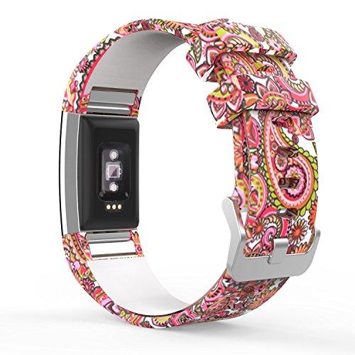 MoKo Fitbit Charge 2 Accesorios - [Rombo Serie] Correa Reemplazo de Silicona Suave Deportiva para Fitbit Charge 2 Pulsera de Actividad física y Ritmo cardiaco, Fits 145mm-210mm, Tótem de la Margarita